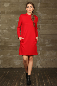 Красное платье с карманами Mondigo