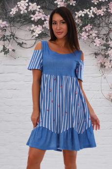Летнее платье с открытыми плечами Натали